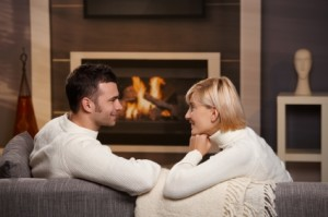 couple fireplace