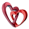 Two bound hearts with raytraced texture. White background.